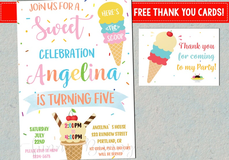 Ice Cream Party Invitation Birthday First