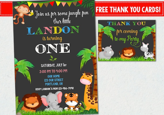 Jungle Birthday Invitation Jungle Invitation Safari Invitation Printable Boy Girl Birthday Zoo Animal Party Monkey 1st First Birthday Invite