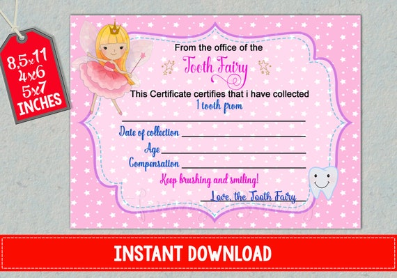 Tooth Fairy Certificate First Lost Teeth Report Printable