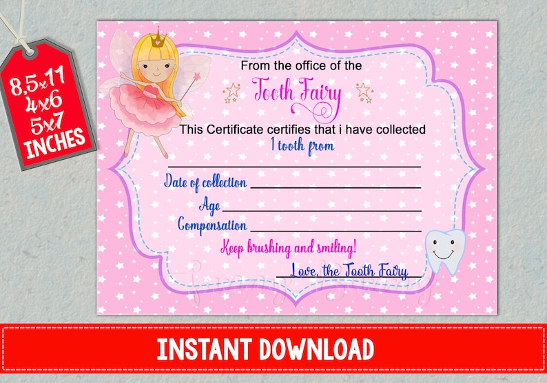 picture relating to Tooth Fairy Certificate Printable Girl identified as Enamel Fairy Certification 1st dropped tooth write-up printable Child loosing receipt for women of all ages Heritage instantaneous obtain