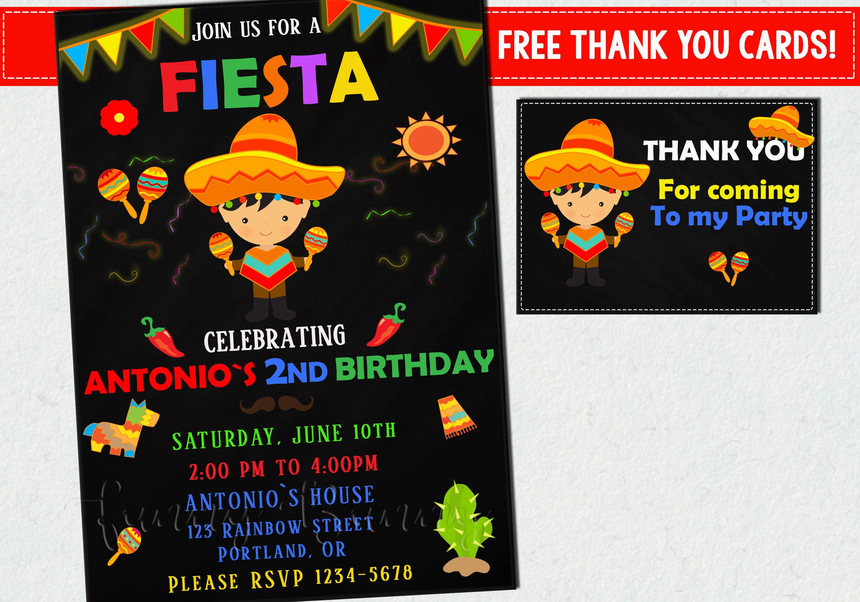 Invitación del cumpleaños del Fiesta mexicano invitación para   Etsy