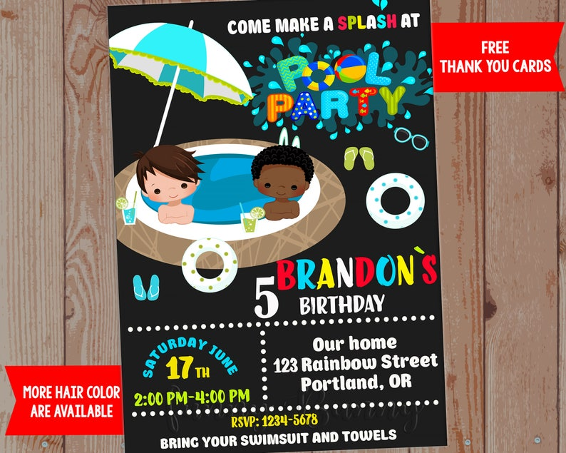 Pool Party Invitation Boy Birthday Waterslide Summer Printable Invite 1st Outfit Swim For Kid