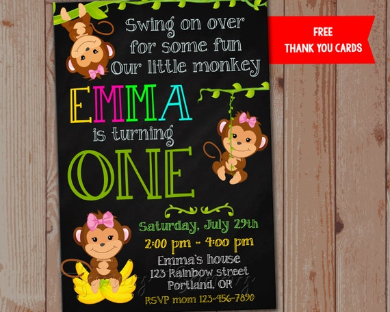 Printable Boy/'s Birthday Invitation Cheeky Monkey Jungle Safari Digital Invite