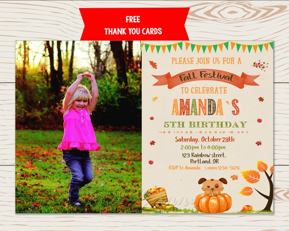 Fall Festival Birthday Invitation Flyer