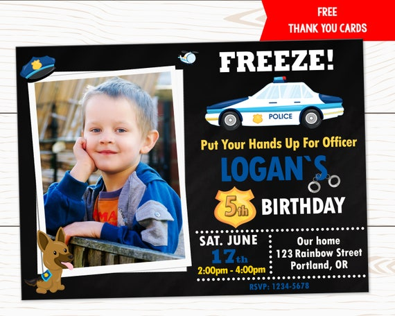 Photo Police Birthday Invitation