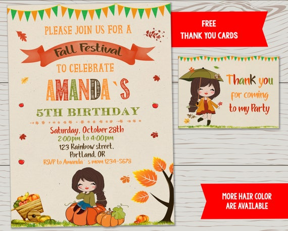 Fall Festival Birthday Invitation