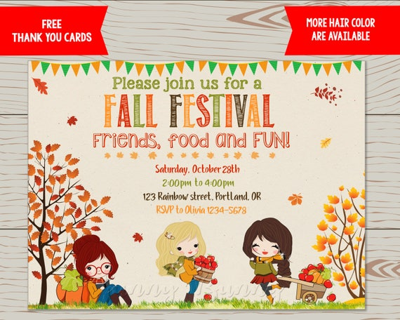 Fall Festival Invitation Flyer Harvest Party