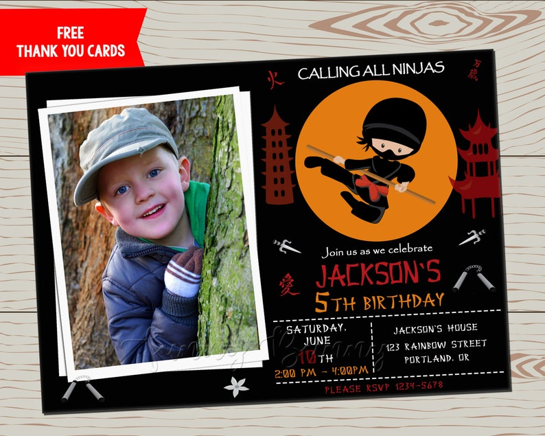 Photo Ninja Warrior Invitation Ninja Birthday Invitation Ninja Etsy