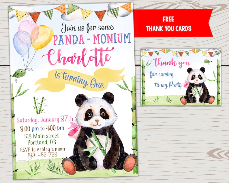 Panda Invitation Girl Birthday Boy Invite First Outfit Party Animals Printable Bear