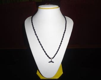 Silver whale fluke ( tail) necklace