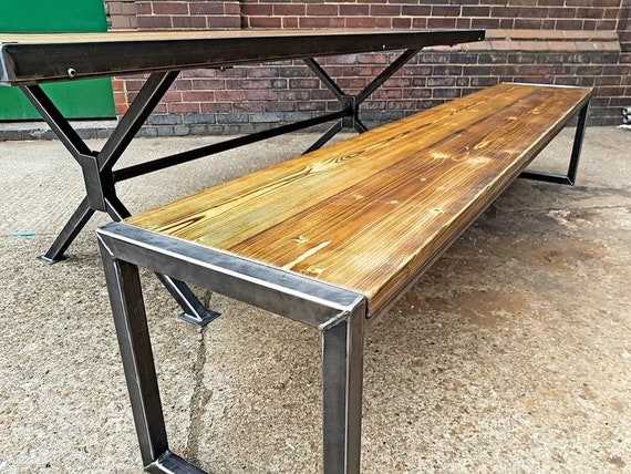 Industrial Style Bench Rustic Seating Furniture, Rustic Industrial Furniture