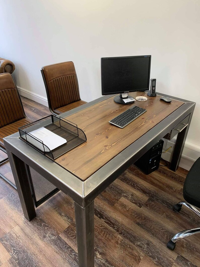 Industrial Style Desk, Office Workstation, Table. Metal Rustic Desk.  Industrial Furniture Handmade To Order