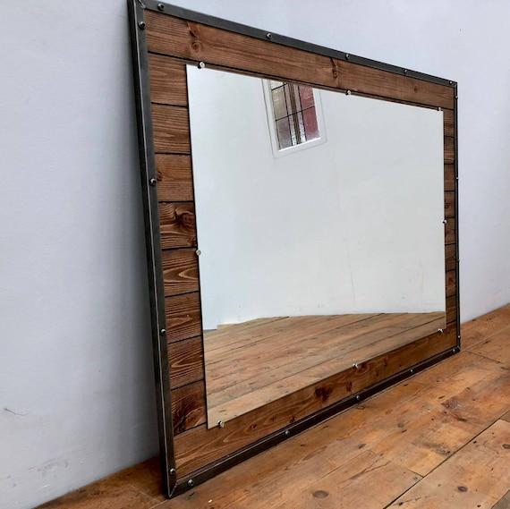 Miroir de Style industriel. Grand miroir rustique. Mobilier industriel fait  à la main sur commande
