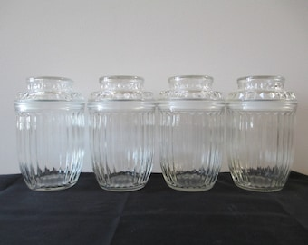 Vintage Anchor Hocking Glass Canisters Set of 4, Ribbed Glass Canisters, Anchor Hocking Canisters, Clear Glass Canisters