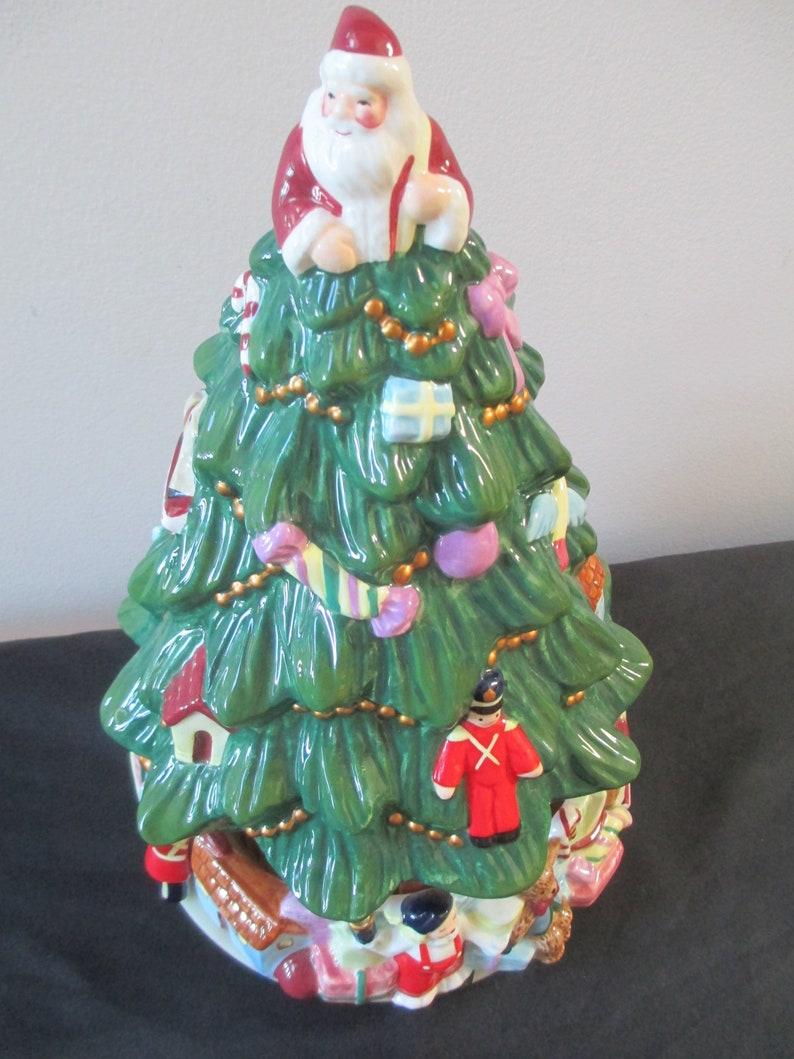 Vintage Musical Christmas Tree Ceramic Musical Christmas Tree Box Christmas Tree With Santa Claus Christmas Music Box