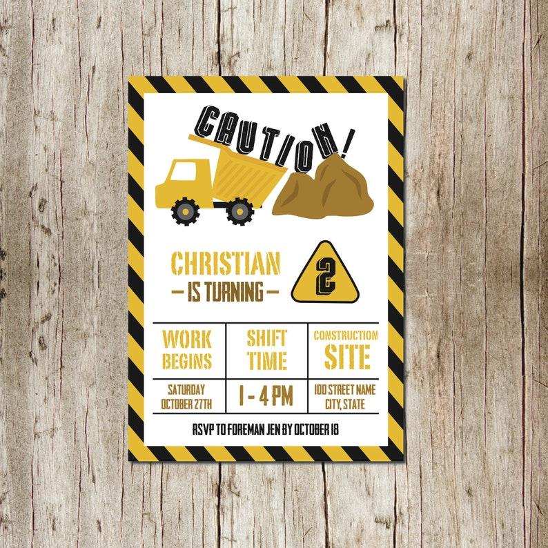 Birthday Invitation Dump Truck Tonka Dirt Boy Brown Yellow Black Caution Stripes