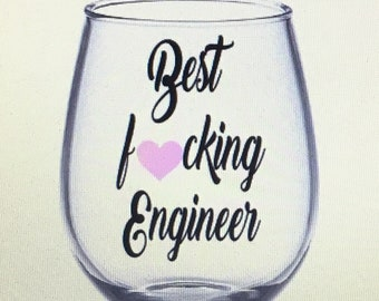 Engineer wine glass. Engineer gift. Engineers gift. Engineering wine glass. Engineering gift.