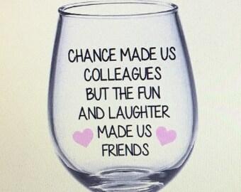Coworker Gift Work Bestie Wine Glass Best Friend Bff