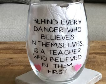 Dance teacher gift. Dance teacher wine glass. Dancer wine glass. Dancer gift.  dance recital gift. Dance coach gift. Dance coach wine glass.