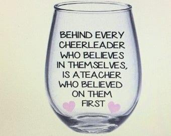 Cheer wine glass. Cheer gift. Cheer coach wine glass. Cheer coach gift. Cheer teacher gift. Cheer teacher wine glass. Cheerleader wine glass