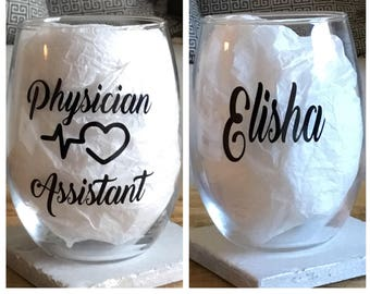 Physician assistant wine glass. Physician assistant gift. Pa wine glass. Pa gift. Gift for pa. Gift for physician assistant. Physician gift