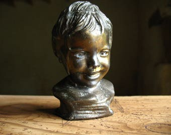French sculpture  bust of little child vintage