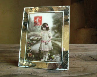 Mirror Photo Frame with old postcard, French, 1930s