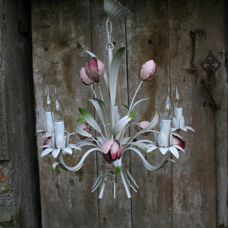 French Toleware chandelier with light rose enamel flowers and five arms 1960s