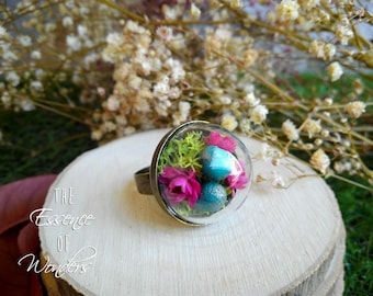 Nest ring, floral ring, vintage ring, floral jewelry, vintage jewelry, dried flowers ring, fantasy ring, botanical jewellery, botanical ring