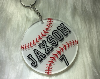Baseball Keychain -- PERSONALIZED BASEBALL GIFTS -- team gifts -- baseball bag tag