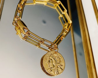 18k Gold Plated Brass Chunky Chain & Coin Bracelet in Gift Box