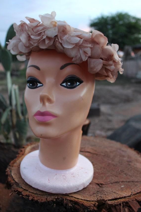 Vintage 1940s Tan Straw Hat | Cottagecore