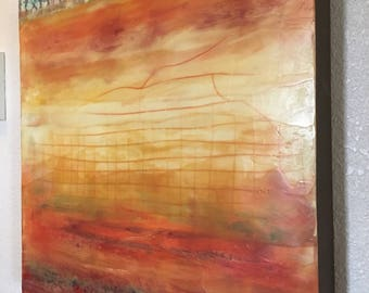 "Encaustic Art 18""x18"" Red Yellow Cream Wax Painting on 1.5"" wood panel"