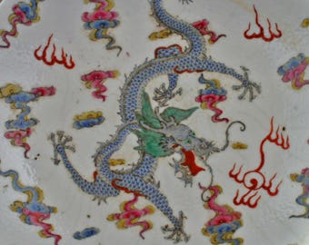 Chinese porcelain plate with dragon