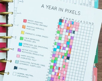 A Year in Pixels (for Classic Happy Planner) - Bullet Journal Inspired Daily Mood Tracker, Minimalist Tracker, Instant Digital Download, PDF