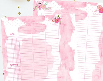 Monthly Insert | Pink Floral Watercolor Printable Insert Series | For Classic Happy Planner | Instant Digital Download | Planner Insert