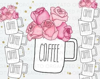 Floral Coffee Cup Digital Bundle   Clip Art & Digital Paper   For use in Planner, Bullet Journal, Travelers Notebook, Erin Condren, etc.