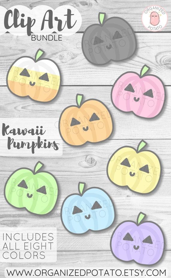 Kawaii Pumpkins Clip Art Bundle For Use In Diy Projects And Scrapbooking Planner Bullet Journal Travelers Notebook Erin Condren Etc