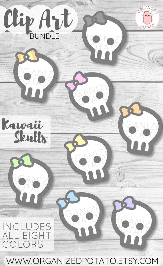Kawaii Skulls Clip Art Bundle For Use In Diy Projects And Scrapbooking Planner Bullet Journal Travelers Notebook Erin Condren Etc
