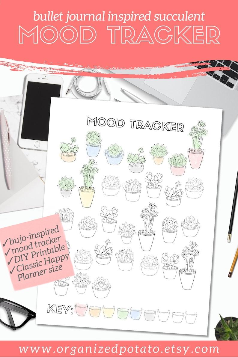 Succulent Mood Tracker  Bullet Journal Inspired DIY Printable image 0