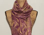 Purple and gold soft over sized wool blend animal floral print with fringe shawl wrap scarf