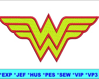 wonder woman logo embroidery design wonder woman embroidery design W woman embroidery design wonder embroidery