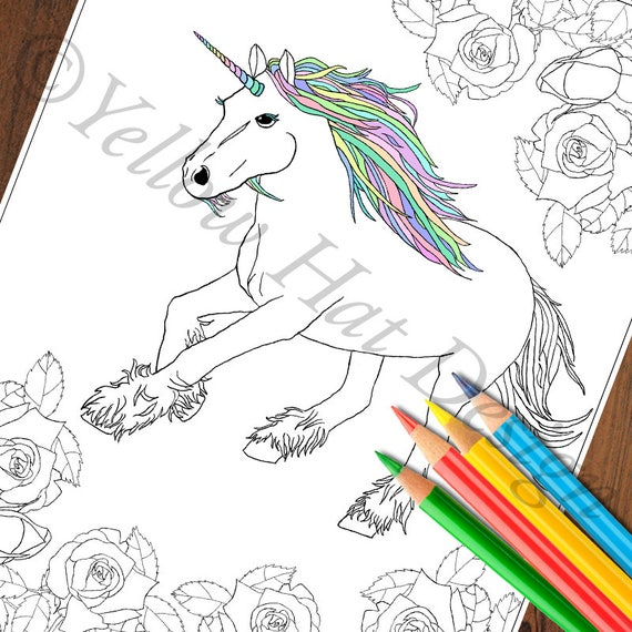 Unicorn Garden Coloring Page Unicorn Coloring Page Rose Etsy
