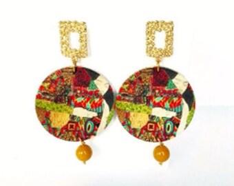 Orecchini Klimt, orecchini legno, orecchini cerchio grande, gioielli artigianali, orecchini decoupage, regalo maestra, amanti abbracciati