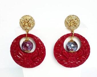 Orecchini rossi, orecchini creole, orecchini pietre dure, orecchini eleganti, orecchini cerchio spessi, gioielli matrimonio, gioielli retro