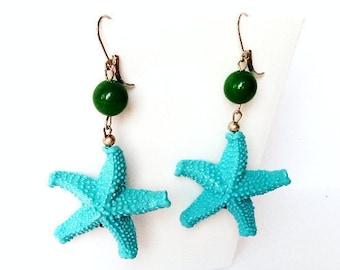 Orecchini stella marina, orecchini azzurro, orecchini resina, orecchini colorati, orecchini estate, gioielli mare, orecchini turchesi verdi