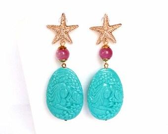 Orecchini mare, orecchini stella marina, orecchini resina, orecchini azzurri, orecchini turchesi, orecchini giada, gioielli estivi, sirena