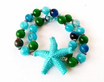 Bracciale stella, bracciale multifilo, stella marina, gioielli in vetro, bracciale a tema mare, bracciale a fascia, bracciale elastico vetro