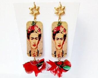 Orecchini Frida Kahlo, orecchini in legno, orecchini in stoffa, made in italy, orecchini pon pon, gioielli messicani, orecchini in ottone