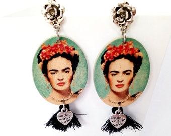 Orecchini Frida Kahlo, orecchini in legno, orecchini con nappine, made in italy, messico, gioielli messicani, gioielli legno, orecchini rose